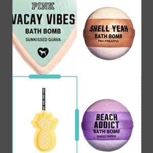 PINK VS Bath bomb and 🍍 loofah bundle NIP